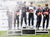 Sebastien Ogier  (FRA), Dani Sordo (ESP) , Thierry Neuville (BEL) celebrate the podium during  FIA World Rally Championship 2016 Germany in Trier , Germany on August 21, 2016