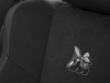 Standard cloth performance seats in the 2020 Dodge Charger Scat Pack Widebody feature an embroidered Scat Pack Bee logo