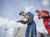 2015/2016 FIA Formula E Championship. Berlin ePrix, Berlin, Germany. Saturday 21 May 2016. Sebastien Buemi (SUI), Renault e.Dams Z.E.15 and Daniel Abt (GER), ABT Audi Sport FE01 spray champagne on the podium. Photo: Andrew Ferraro/LAT/Formula E ref: Digital Image _14P4720