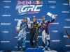 (L-R) Scott Speed, Tanner Faust, and Sebastian Eriksson celebrate on the podium at Round 2 of Red Bull Global Rallycross at Wild Horse Pass Motorsports Park in Phoenix, Arizona, USA on March 22, 2016