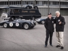 Jay Leno and Ian Callum, Jaguar design director with the Ecurie Ecosse collection at the Fiera De Brescia before the start of the Mille Miglia 2014.