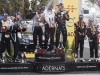 Andreas Mikkelsen celebrates the podium during the FIA World Rally Championship 2015 in Salou, Spain on October 25, 2015